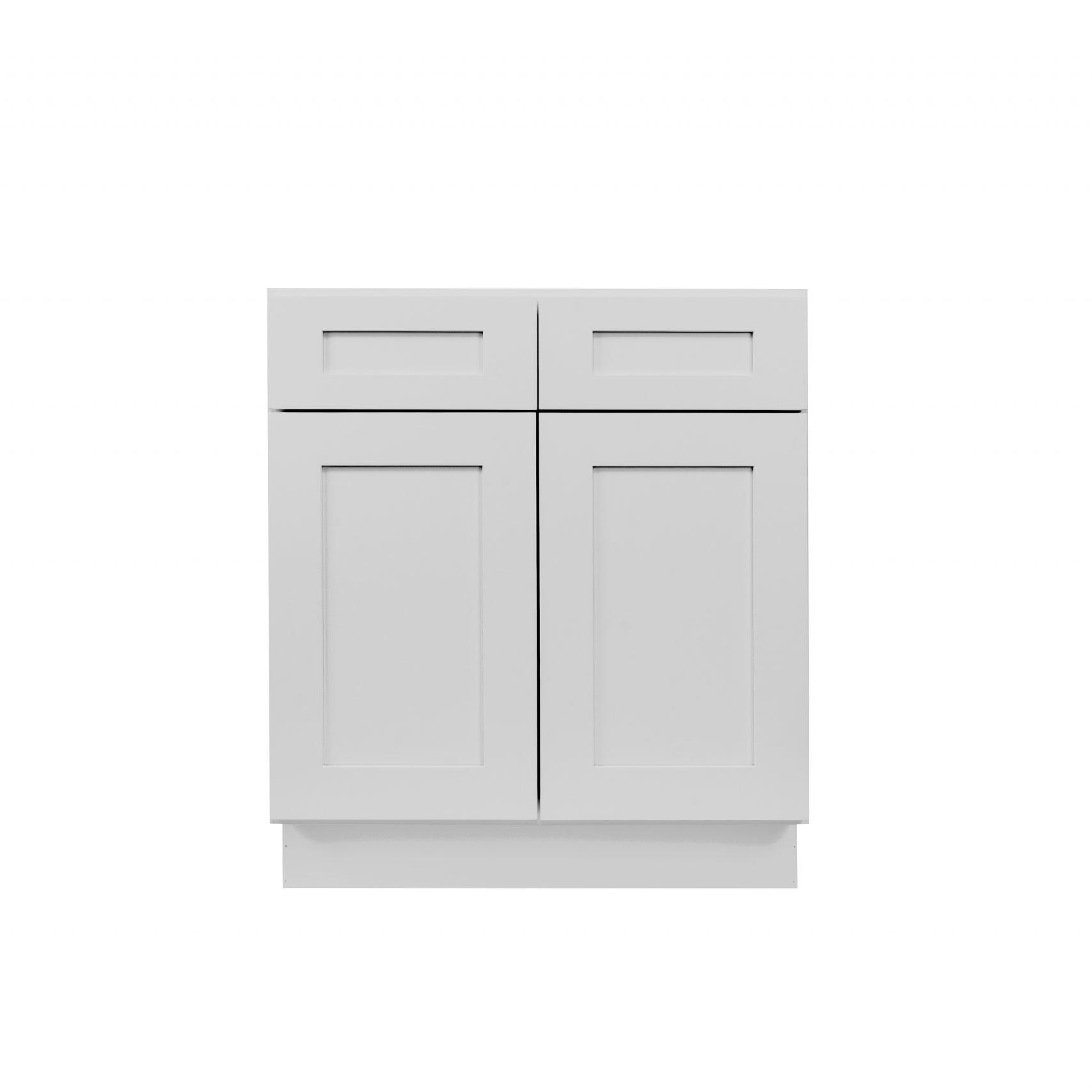 Gray Shaker Cabinetry B30, B33, B36