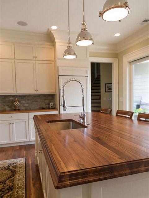 wood countertop shaker kitchen