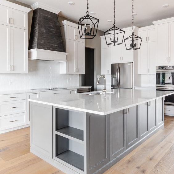 gray white shaker kitchen