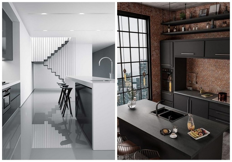 glossy and mate kitchen cabinets